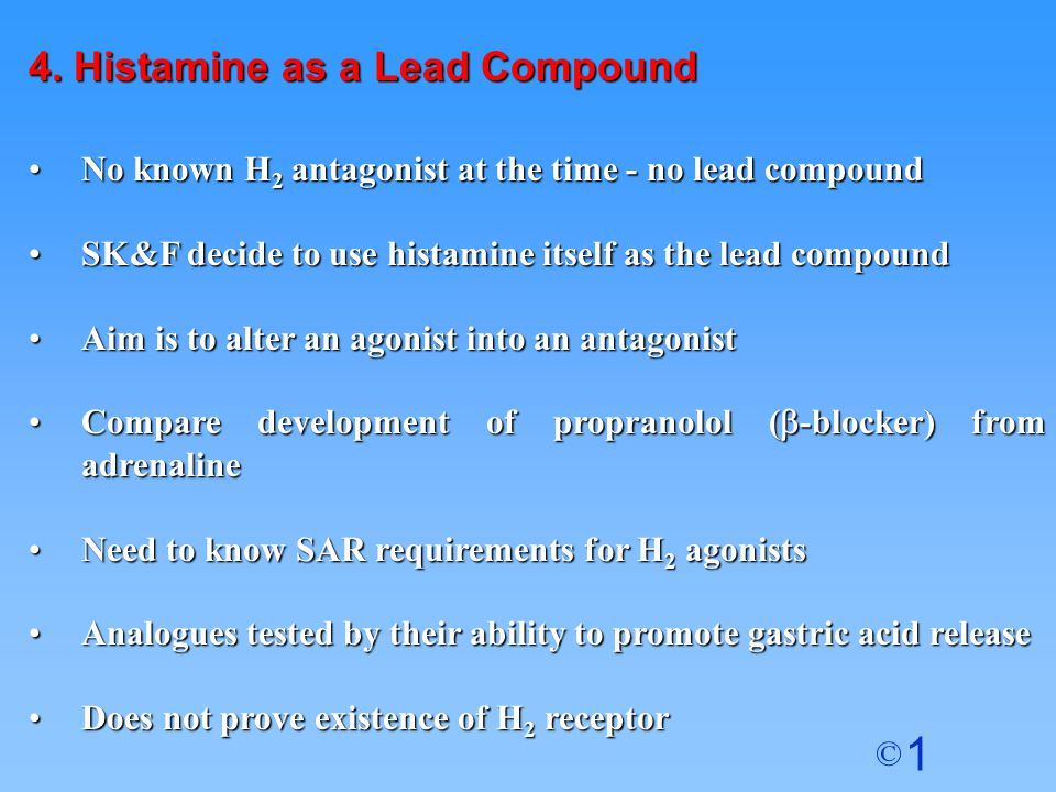 4. Histamine as a Lead Compound