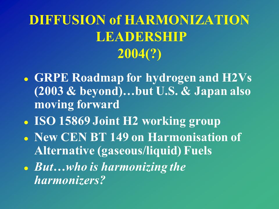 DIFFUSION of HARMONIZATION LEADERSHIP 2004( )