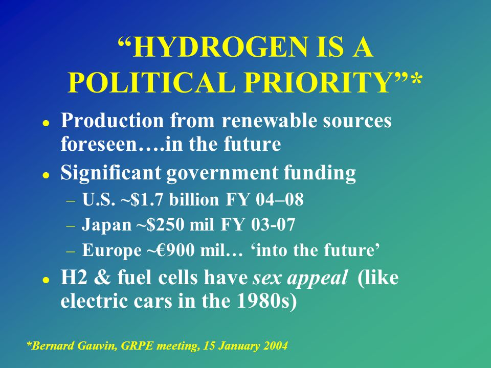 HYDROGEN IS A POLITICAL PRIORITY *