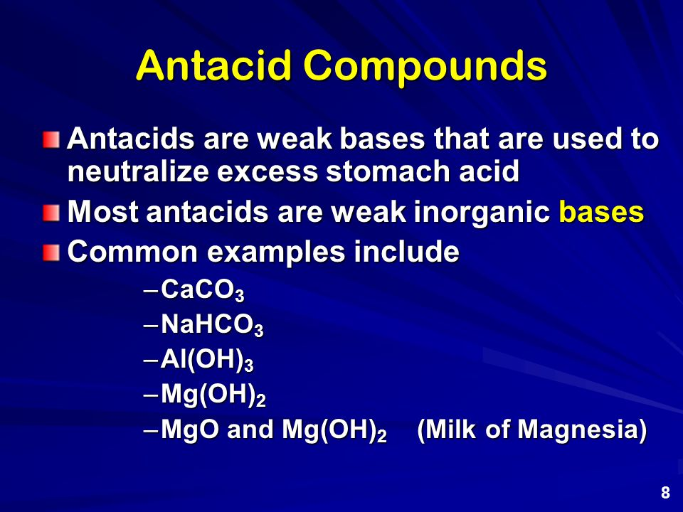 Antacid Compounds Antacids are weak bases that are used to neutralize excess stomach acid. Most antacids are weak inorganic bases.
