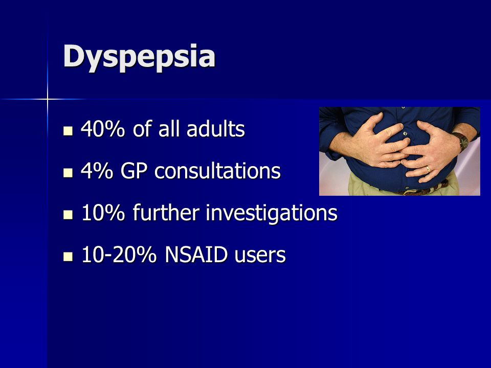 Dyspepsia 40% of all adults 4% GP consultations