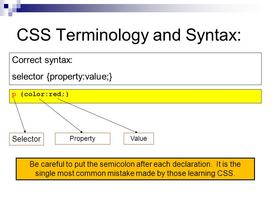 CSS Terminology and Syntax: