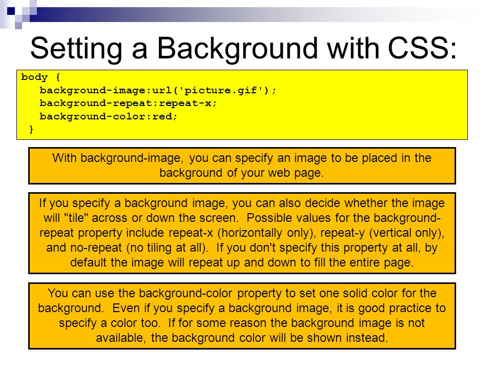Setting a Background with CSS: