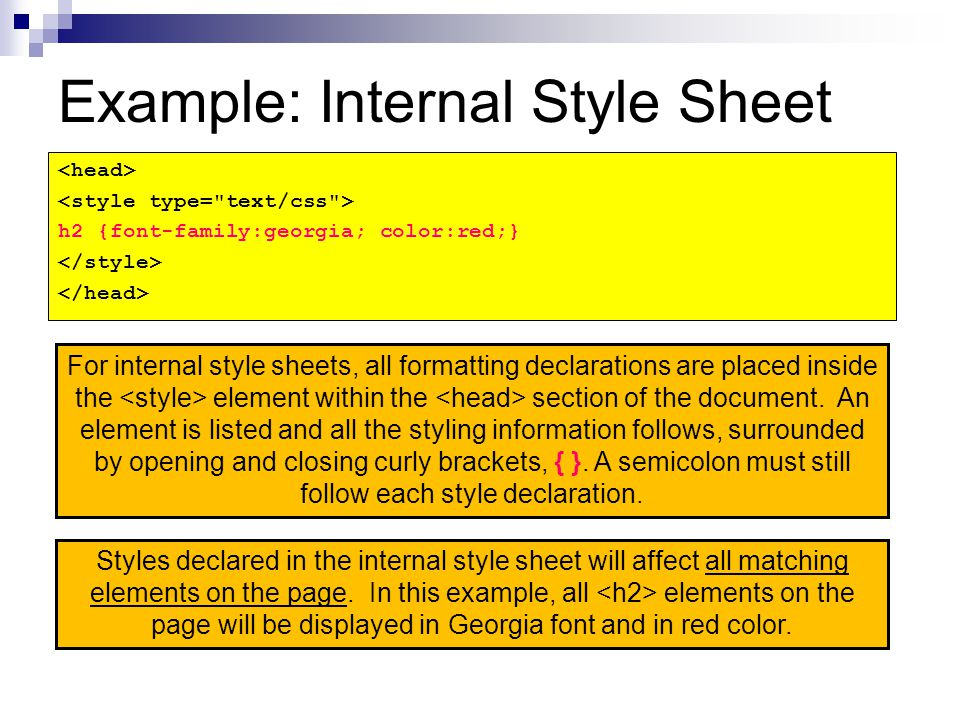 Example: Internal Style Sheet