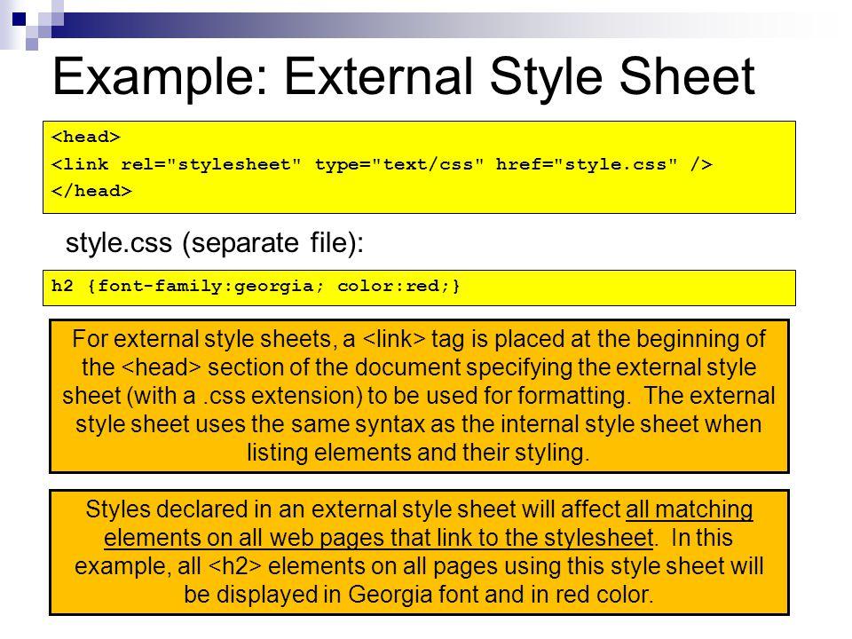 Example: External Style Sheet