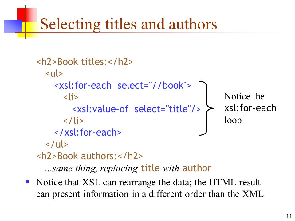 Selecting titles and authors