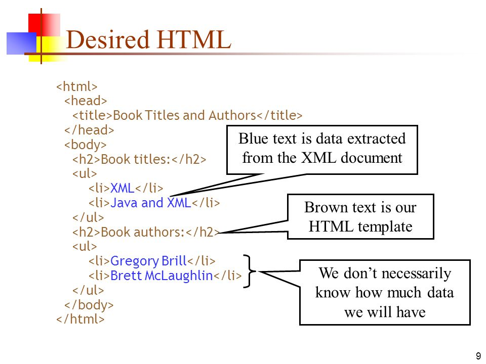 Desired HTML Blue text is data extracted from the XML document
