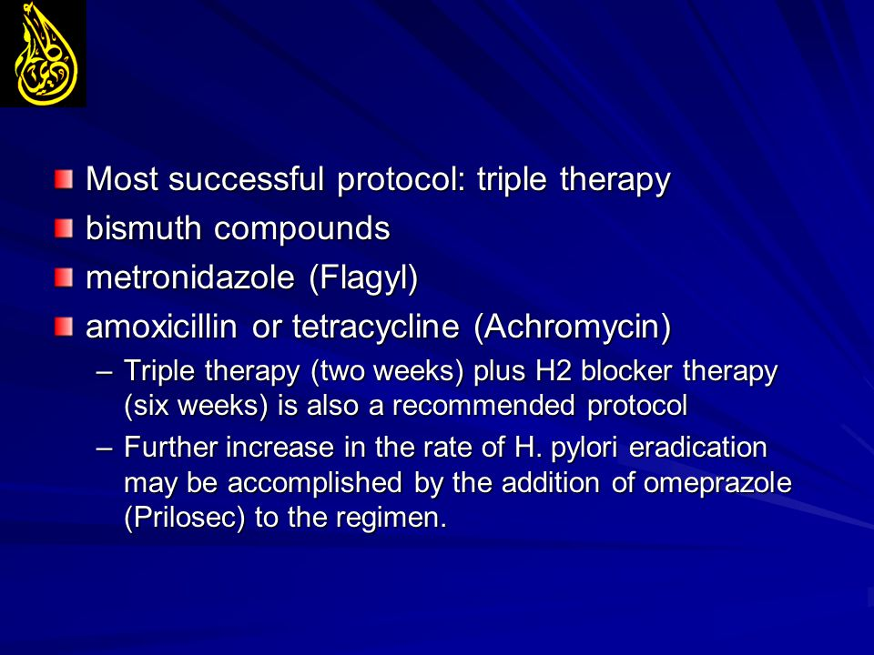 Most successful protocol: triple therapy bismuth compounds