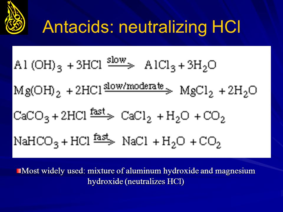 Antacids: neutralizing HCl