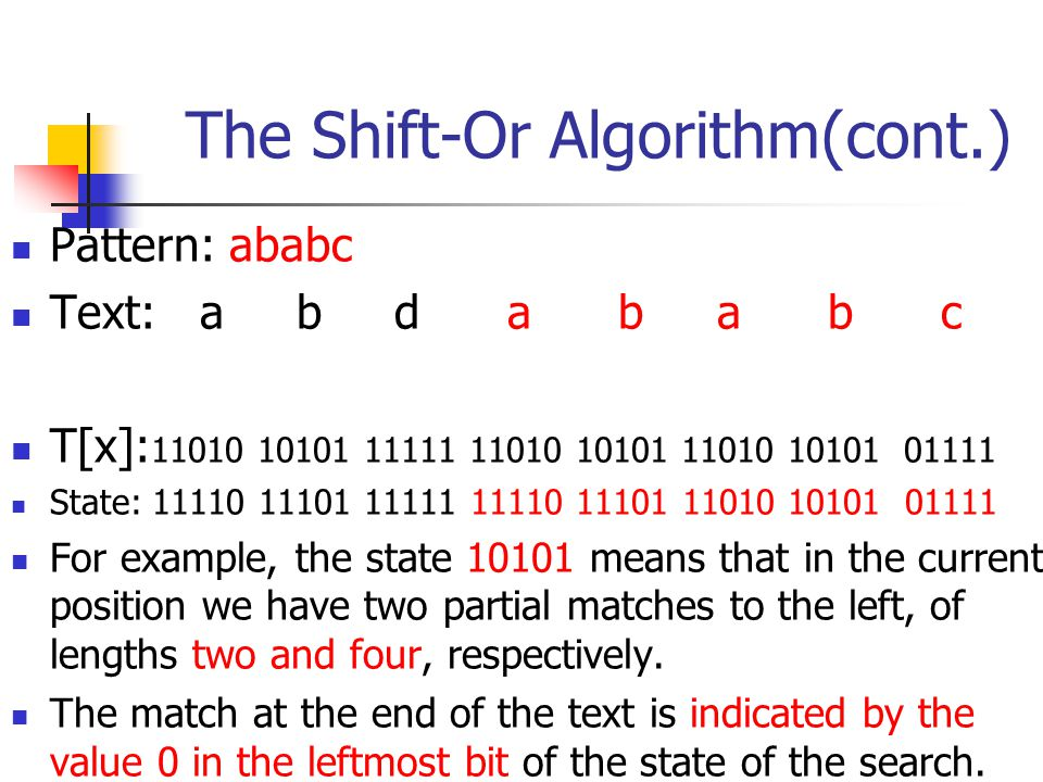 The Shift-Or Algorithm(cont.)