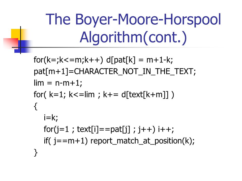 The Boyer-Moore-Horspool Algorithm(cont.)