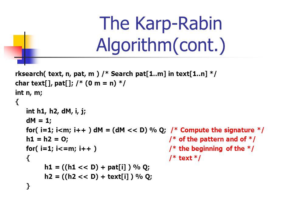 The Karp-Rabin Algorithm(cont.)