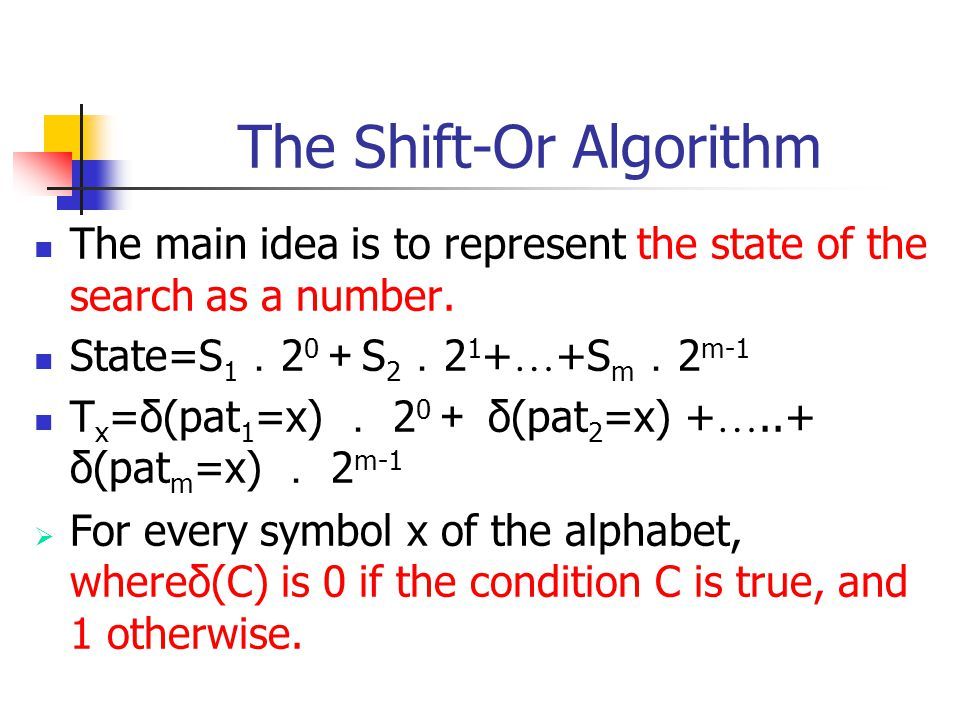 The Shift-Or Algorithm