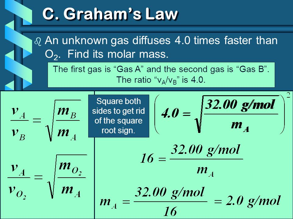 C. Graham's Law An unknown gas diffuses 4.0 times faster than O2. Find its molar mass. The first gas is Gas A and the second gas is Gas B .