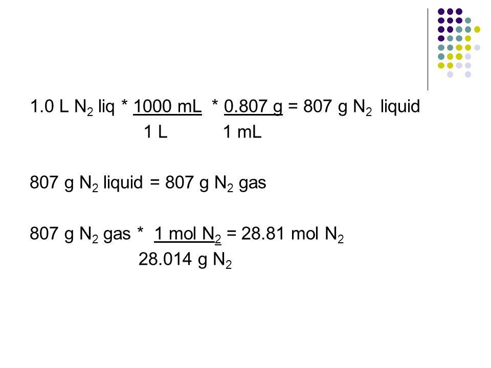 1.0 L N2 liq * 1000 mL * 0.807 g = 807 g N2 liquid 1 L 1 mL. 807 g N2 liquid = 807 g N2 gas.