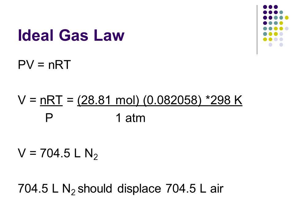 Ideal Gas Law PV = nRT V = nRT = (28.81 mol) (0.082058) *298 K P 1 atm