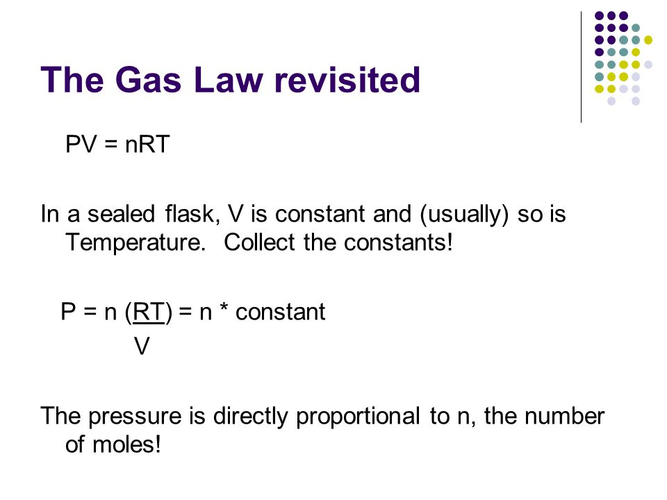 The Gas Law revisited PV = nRT