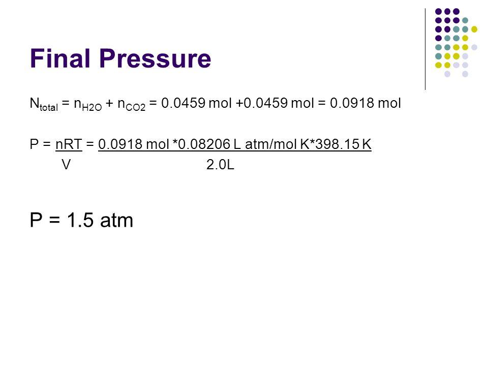 Final Pressure Ntotal = nH2O + nCO2 = 0.0459 mol +0.0459 mol = 0.0918 mol. P = nRT = 0.0918 mol *0.08206 L atm/mol K*398.15 K.