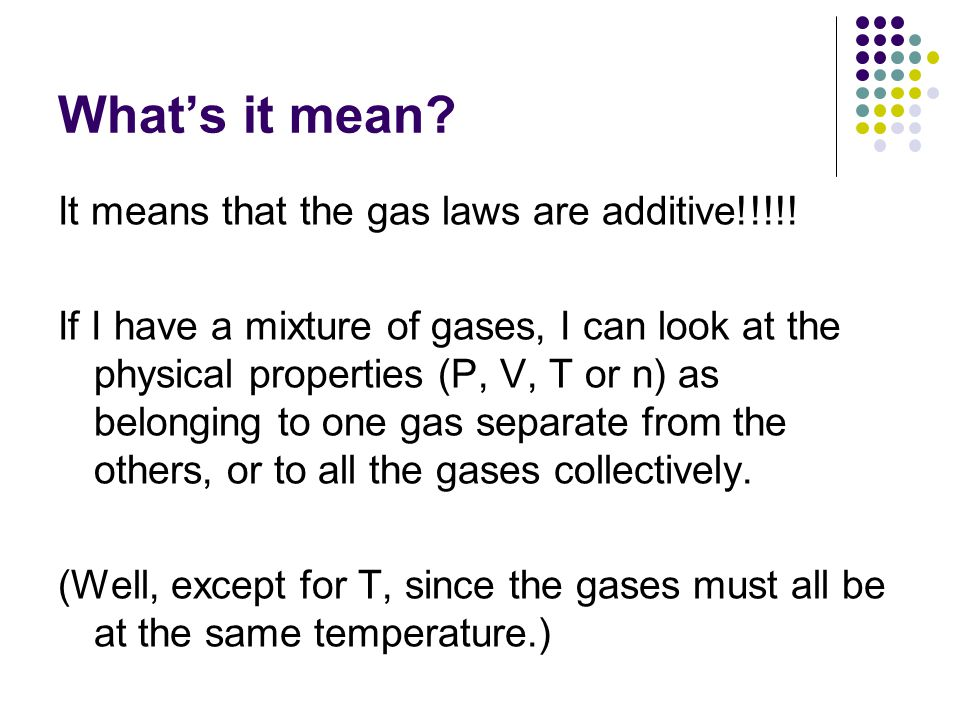 What's it mean It means that the gas laws are additive!!!!!