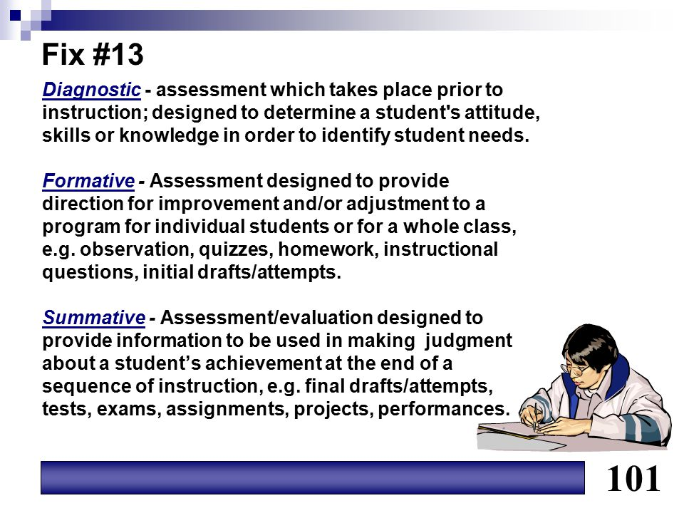 101 Fix #13 Diagnostic - assessment which takes place prior to
