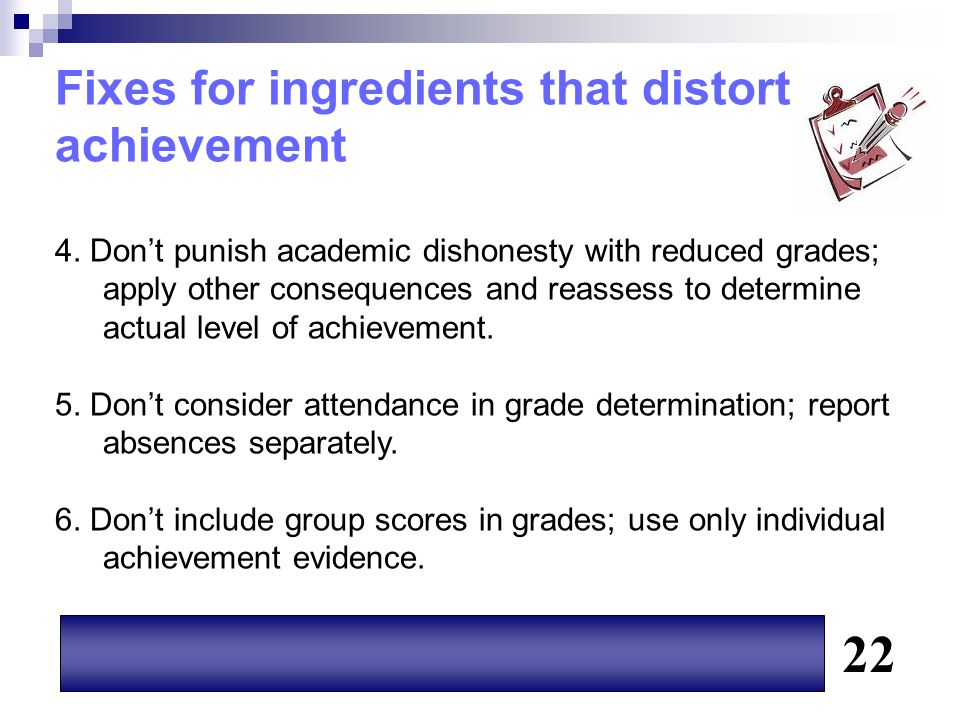 22 Fixes for ingredients that distort achievement
