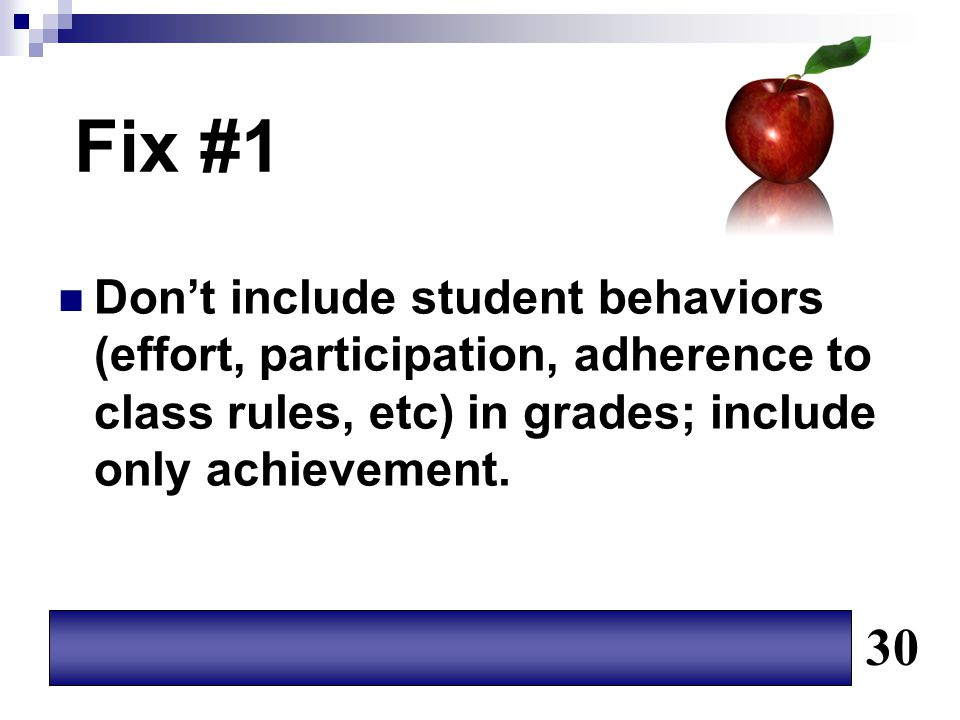 Fix #1 Don't include student behaviors (effort, participation, adherence to class rules, etc) in grades; include only achievement.