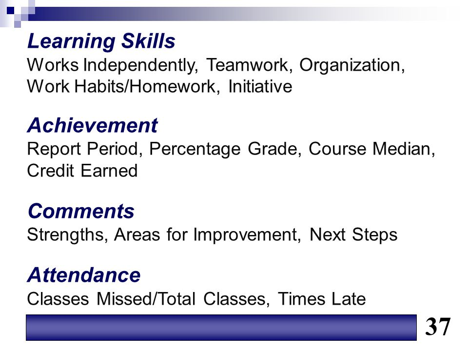 37 Learning Skills Achievement Comments Attendance