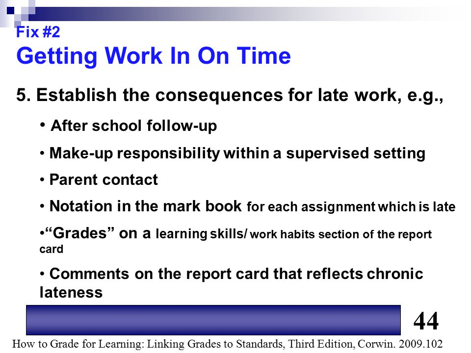 Fix #2 Getting Work In On Time. 5. Establish the consequences for late work, e.g., After school follow-up.