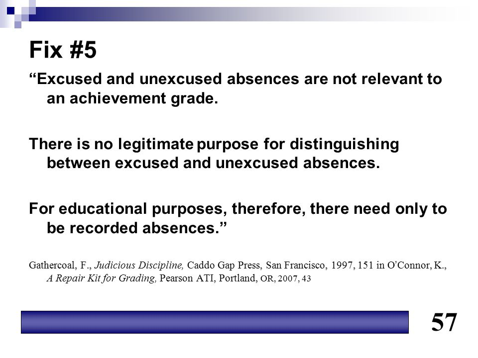 Fix #5 Excused and unexcused absences are not relevant to an achievement grade.