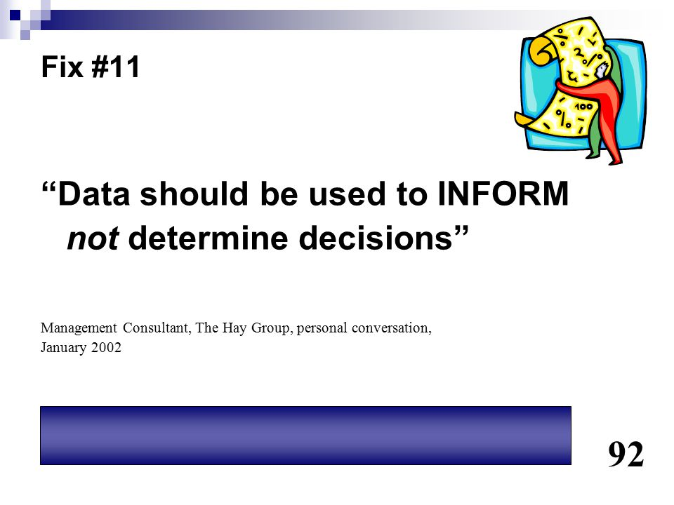 92 Data should be used to INFORM not determine decisions Fix #11