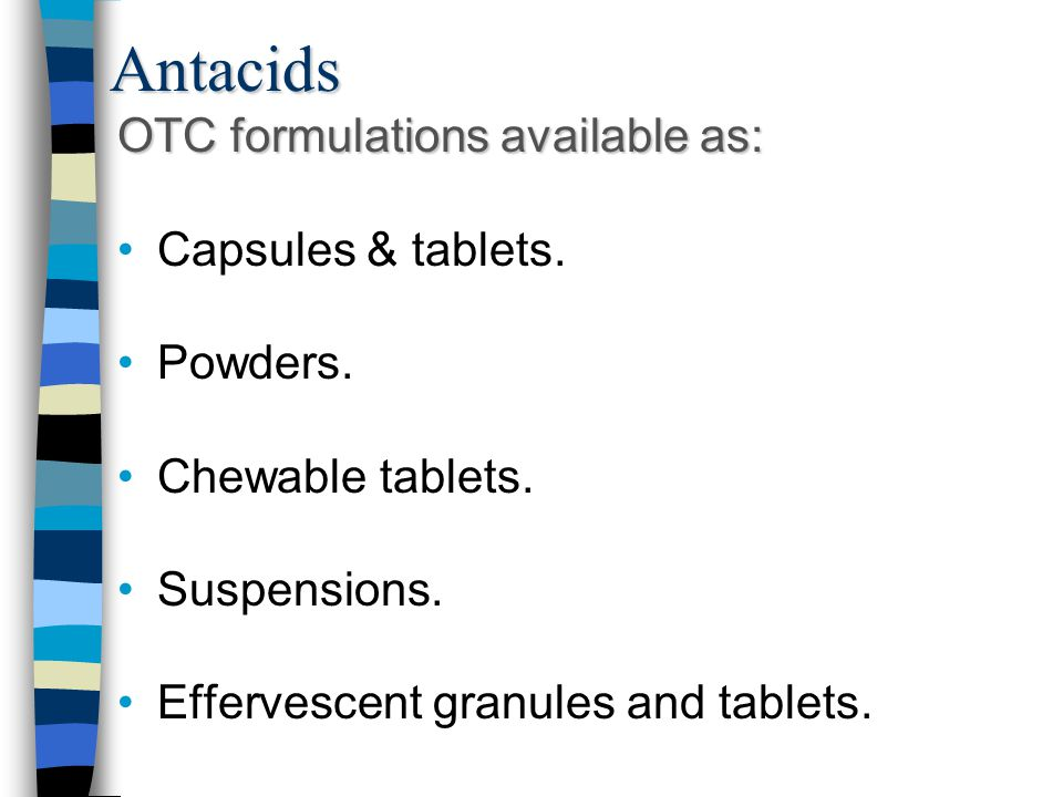 Antacids OTC formulations available as: Capsules & tablets. Powders.