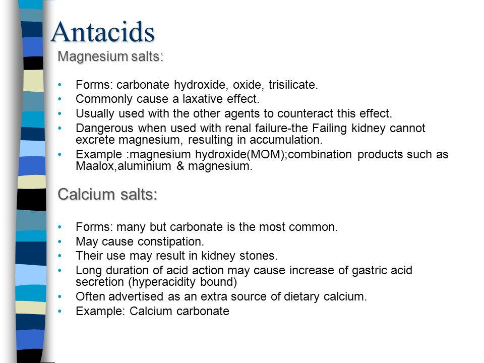 Antacids Calcium salts: Magnesium salts: