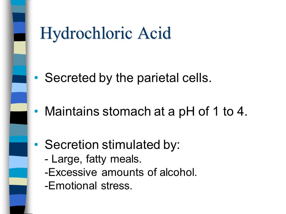 Hydrochloric Acid Secreted by the parietal cells.