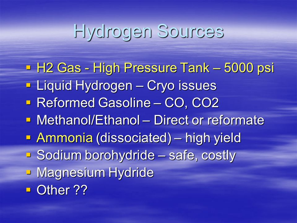 Hydrogen Sources H2 Gas - High Pressure Tank – 5000 psi