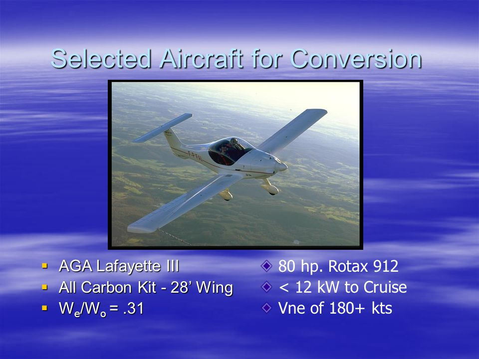 Selected Aircraft for Conversion