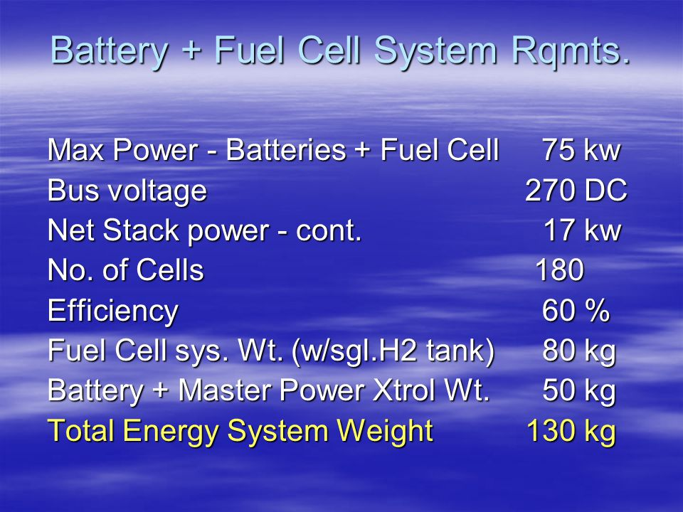 Battery + Fuel Cell System Rqmts.