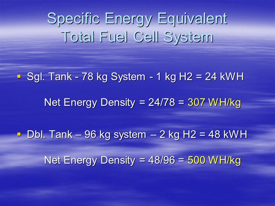 Specific Energy Equivalent Total Fuel Cell System
