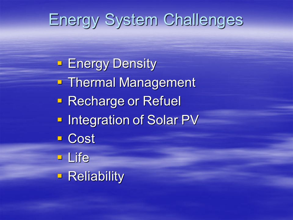 Energy System Challenges