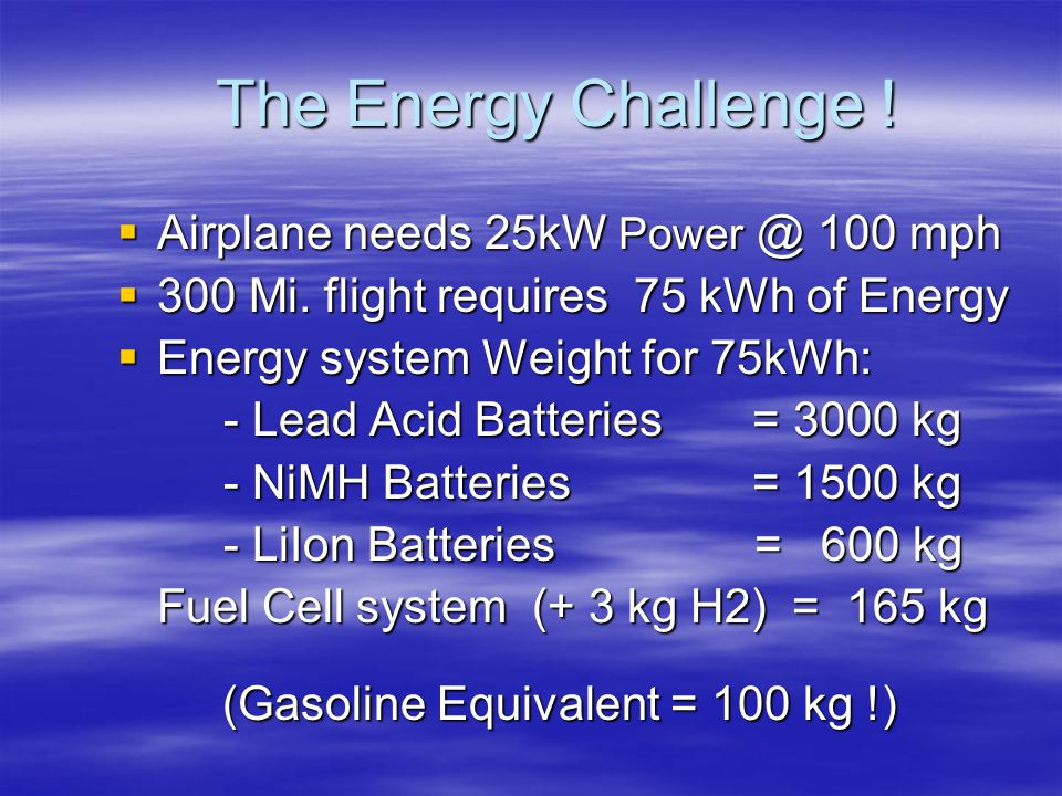 The Energy Challenge ! Airplane needs 25kW Power @ 100 mph