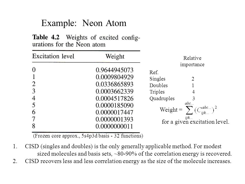 Example: Neon Atom Weight = for a given excitation level.
