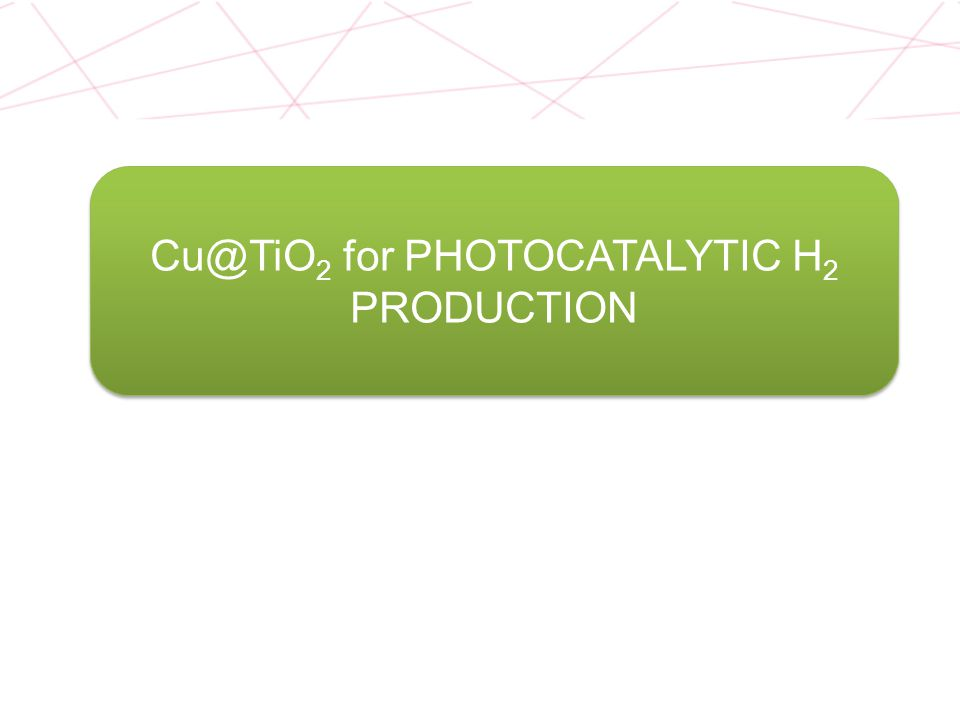 Cu@TiO2 for PHOTOCATALYTIC H2 PRODUCTION