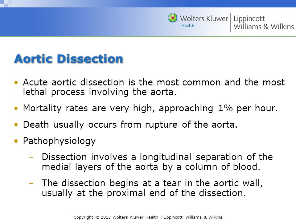 Aortic Dissection Acute aortic dissection is the most common and the most lethal process involving the aorta.