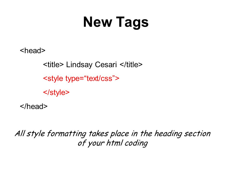 New Tags <head> <title> Lindsay Cesari </title>