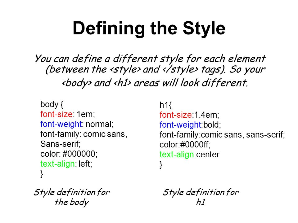 Style definition for the body