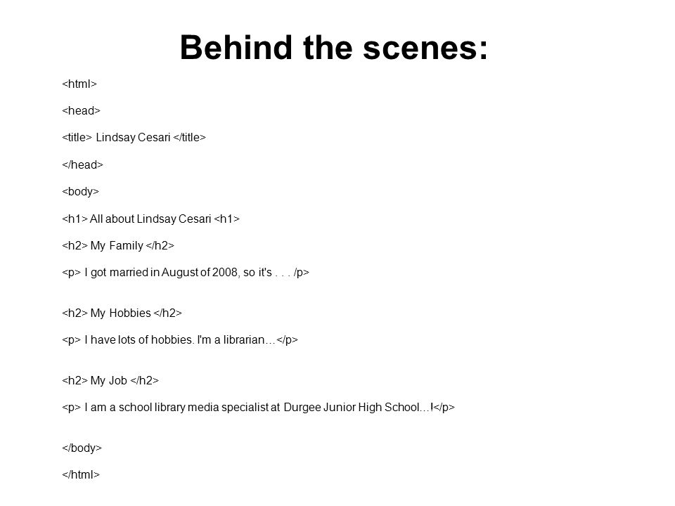 Behind the scenes: <html> <head>