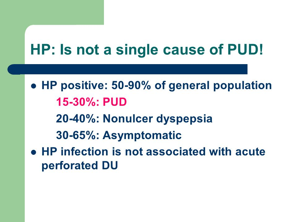 HP: Is not a single cause of PUD!