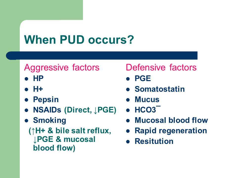 When PUD occurs Aggressive factors Defensive factors HP H+ Pepsin