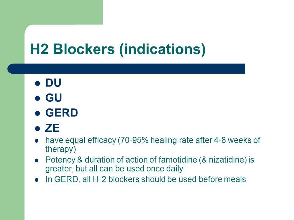H2 Blockers (indications)