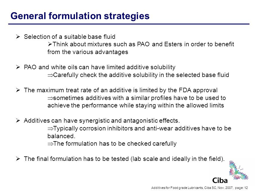 General formulation strategies
