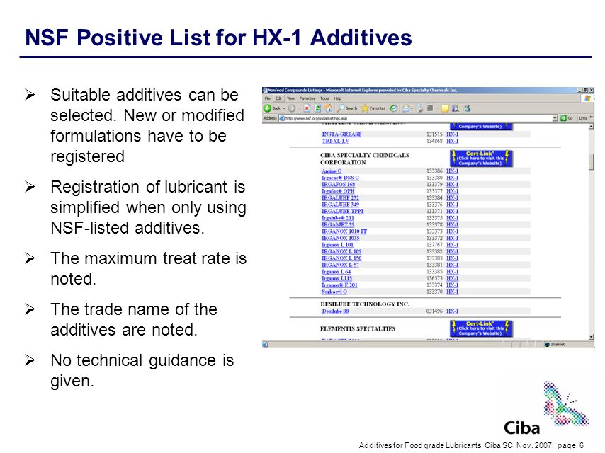 NSF Positive List for HX-1 Additives